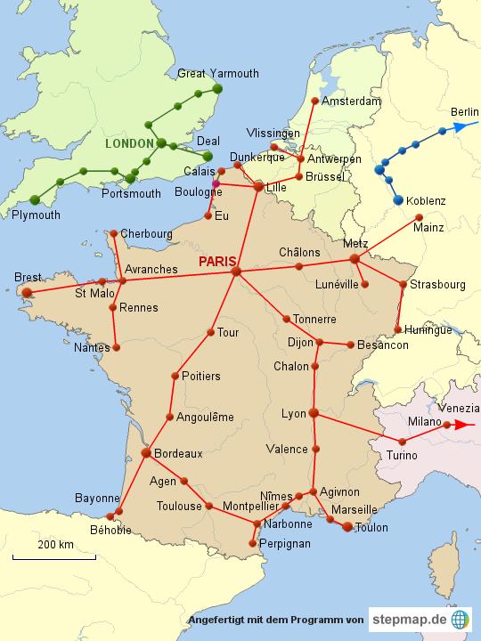karte frankreich england StepMap   Optische Telegrafenlinien in Frankreich und England