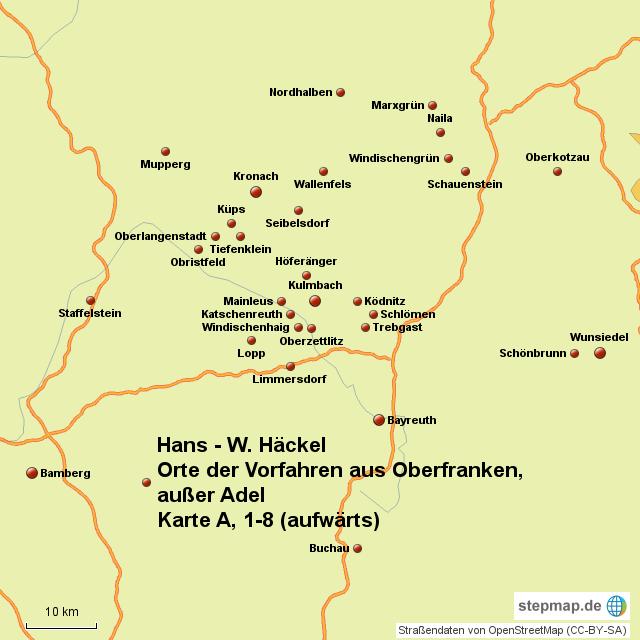 Oberfranken Karte.Stepmap Orte Der Vorfahren Aus Oberfranken Landkarte Für Deutschland