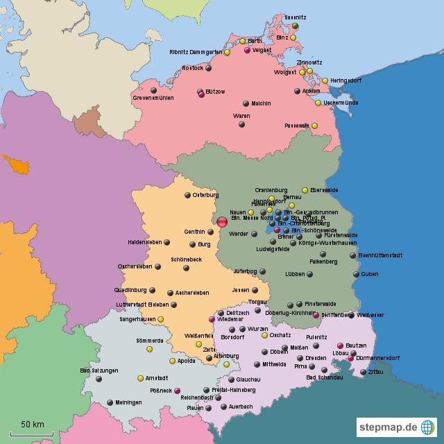 neue bundesländer karte StepMap   Orte neue Bundesländer   Landkarte für Deutschland neue bundesländer karte