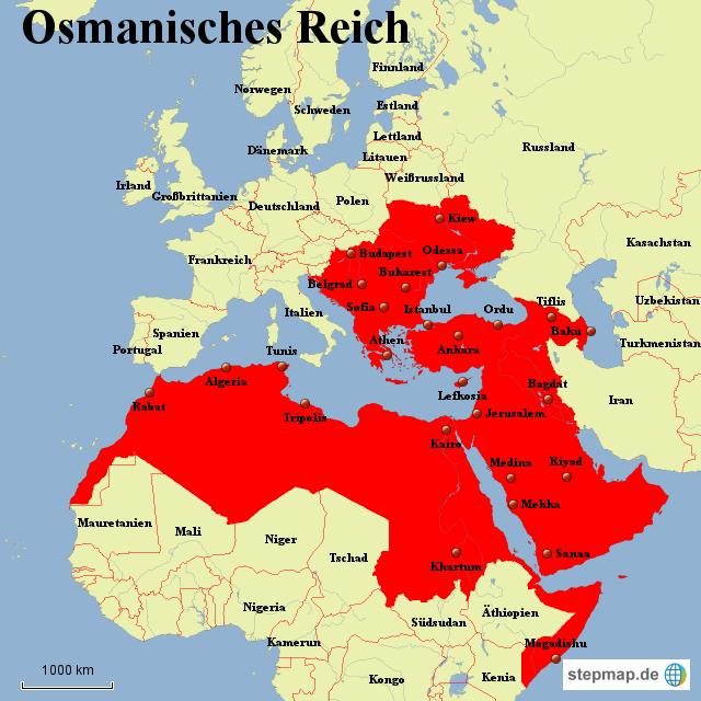 Osmanisches Reich Karte 1914.Stepmap Osmanisches Reich Landkarte Für Welt