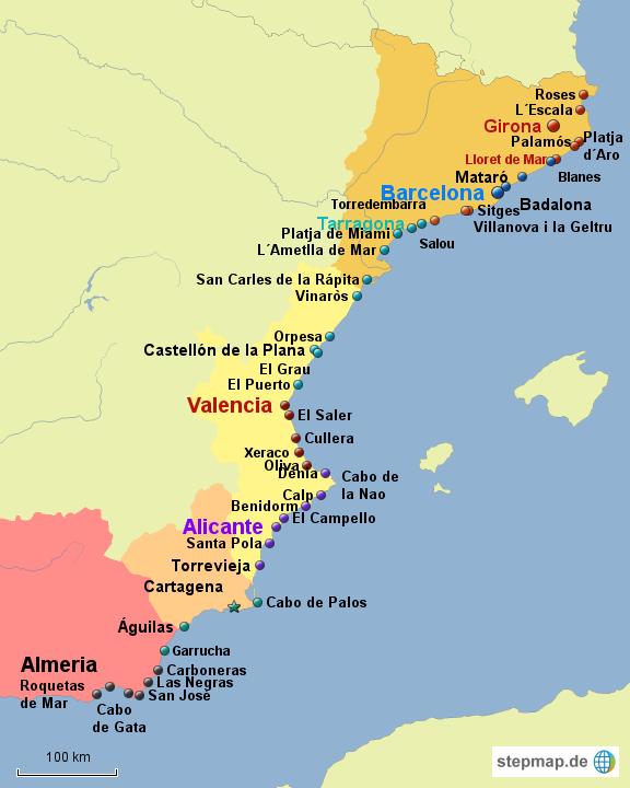 Spanische Karte.Stepmap Ostkuste Spaniens Landkarte Fur Spanien