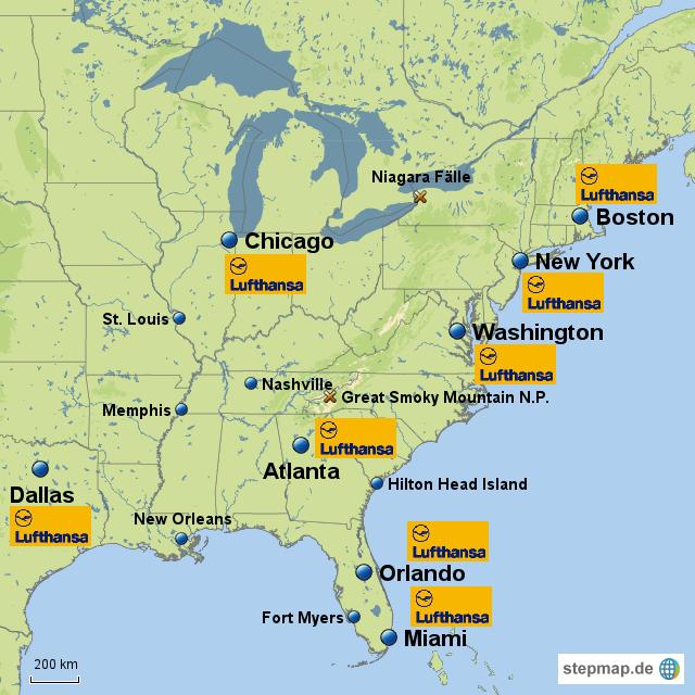 usa ostküste karte StepMap   Ostküste USA   Landkarte für USA