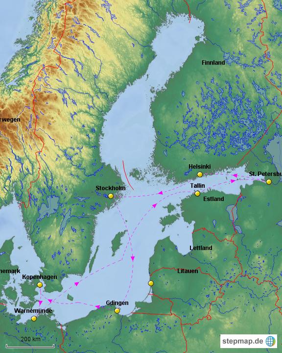 Karte Ostsee.Stepmap Ostsee Kreuzfahrt Landkarte Für Europa