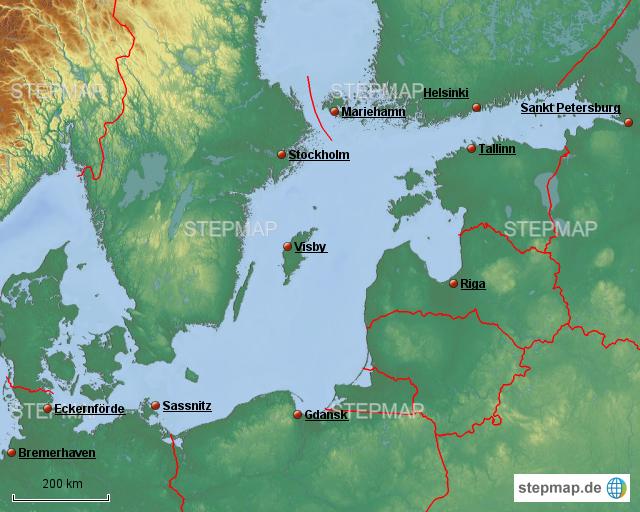 Karte Ostsee Deutschland.Stepmap Ostsee Kreuzfahrt Mit Ms Deutschland Landkarte Für