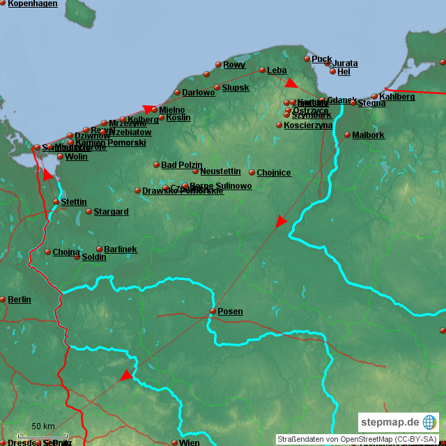Karte Ostseeküste Polen.Stepmap Ostseeküste Polen Landkarte Für Deutschland
