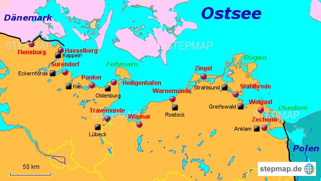 Ostseeradweg Karte.Stepmap Ostseeradweg Landkarte Für Deutschland