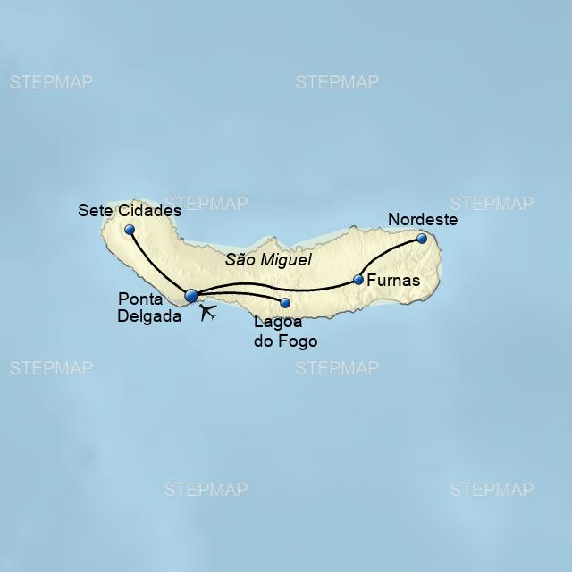 Azoren Karte Portugal.Stepmap Pdl07 Portugal Azoren Jubiläumsreise Landkarte Für Portugal