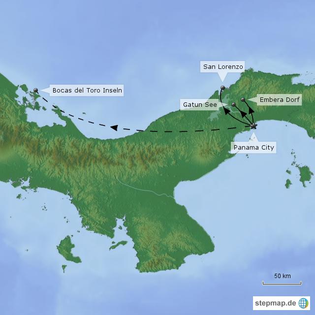Karibik Karte Deutsch.Stepmap Panama Rundreise Highlights Katalog Landkarte Für Panama