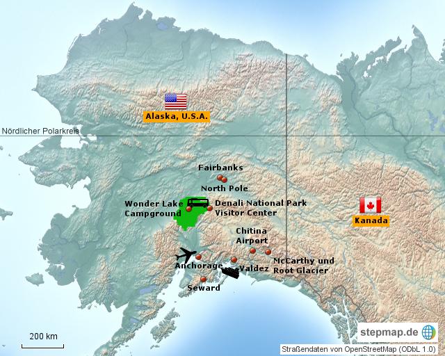 StepMap - Panneontour@Alaska 31.07.-27.08.2016 - Landkarte ...