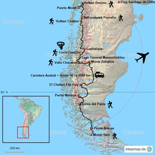 Chile Patagonien Karte.Stepmap Patagonien 2017 Landkarte Fur Chile