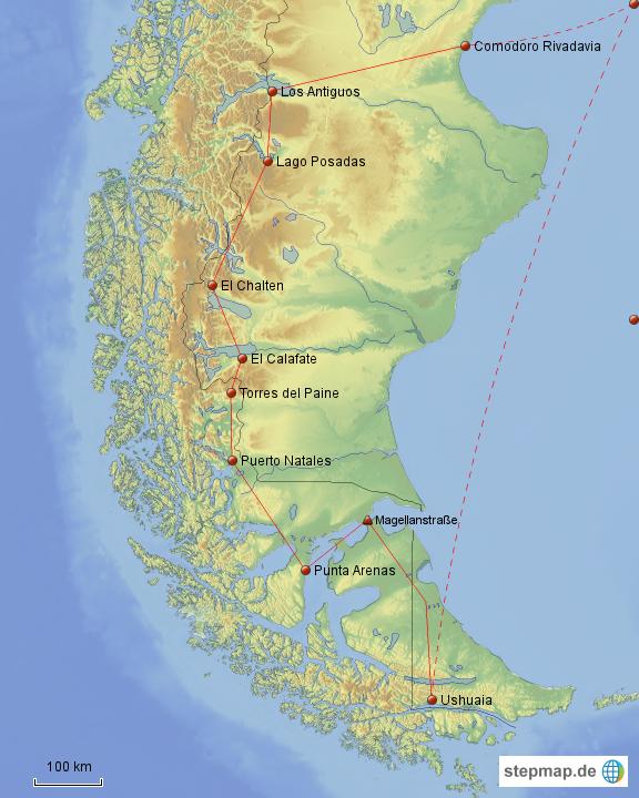 patagonien karte StepMap   Patagonien & Feuerland   Landkarte für Argentinien