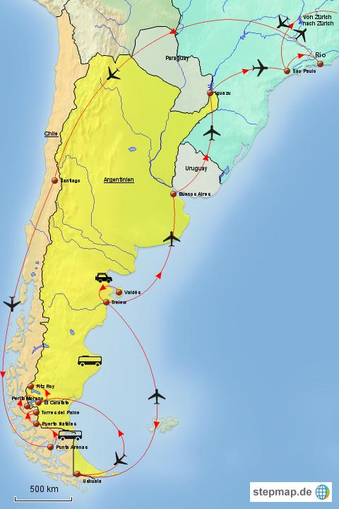 patagonien karte StepMap   Patagonien Karte   Landkarte für Südamerika