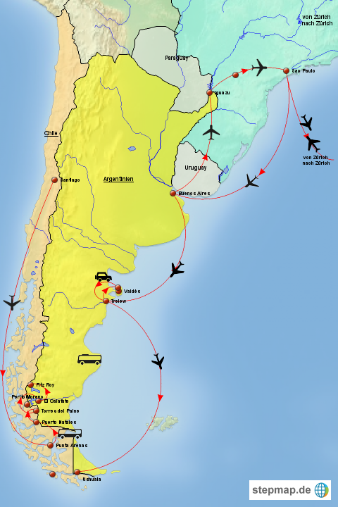 patagonien karte StepMap   Patagonien Karte 2017   Landkarte für Südamerika
