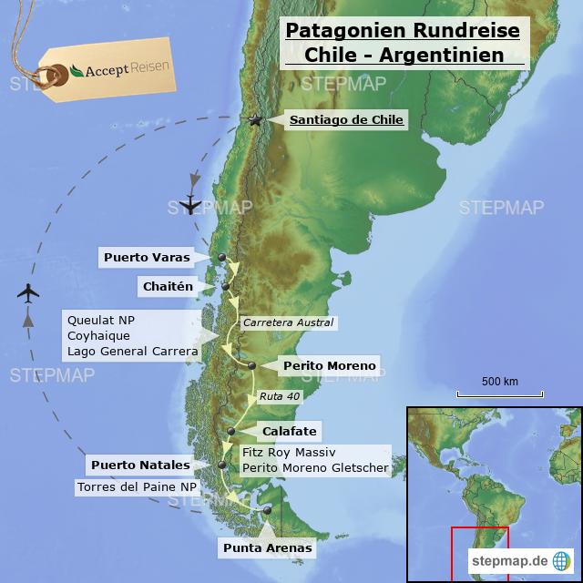 Chile Patagonien Karte.Stepmap Patagonien Rundreise Aktiv Chile Argentinien