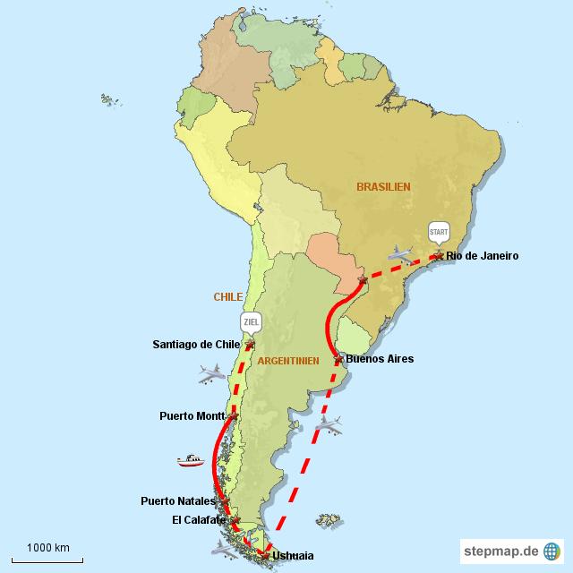 feuerland karte StepMap   Patagonien und Feuerland   Landkarte für Südamerika feuerland karte