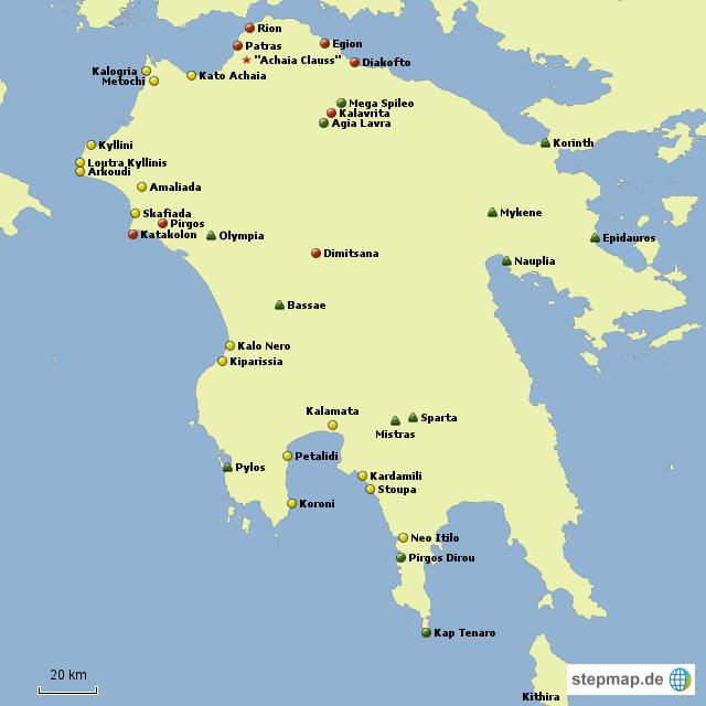 Griechenland Peloponnes Karte Deutsch.Stepmap Peloponnes Landkarte Für Griechenland