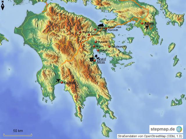 Peloponnes Karte.Stepmap Peloponnes Landkarte Für Griechenland