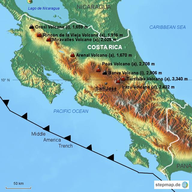 karte costa rica StepMap   Physische Karte Costa Rica Vulkane   Landkarte für Costa  karte costa rica