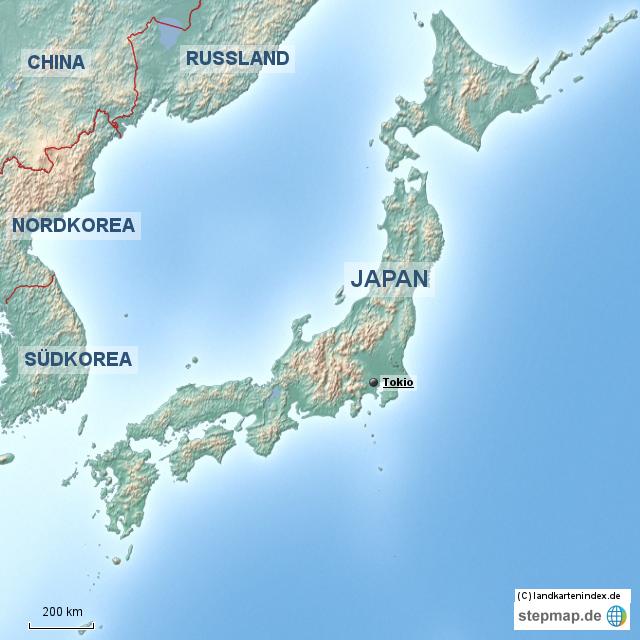 Japan Karte Physisch.Stepmap Physische Landkarte Von Japan Landkarte Fur Japan