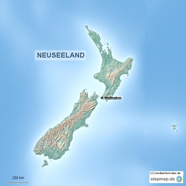 Stepmap Physische Landkarte Von Neuseeland Landkarte Fur