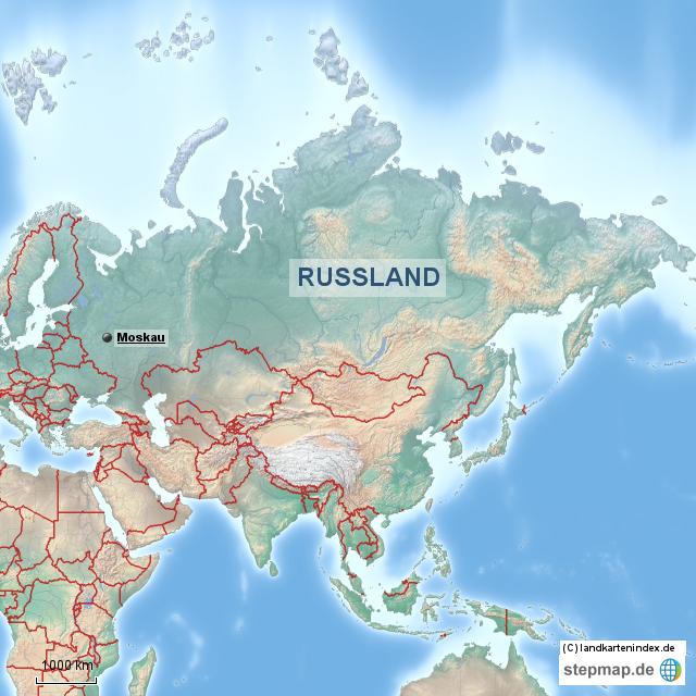 Indonesien Karte Physisch.Stepmap Physische Landkarte Von Russland Landkarte Fur