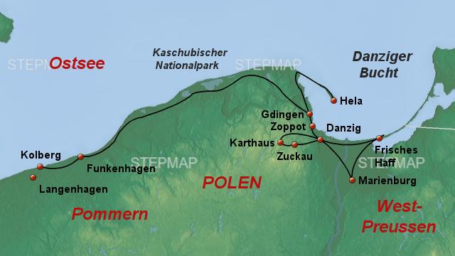 stepmap polen danziger bucht landkarte f r deutschland. Black Bedroom Furniture Sets. Home Design Ideas