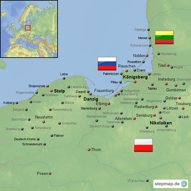 Königsberg Kaliningrad Karte.Stepmap Polen Kaliningrad Litauen Landkarte Für Polen