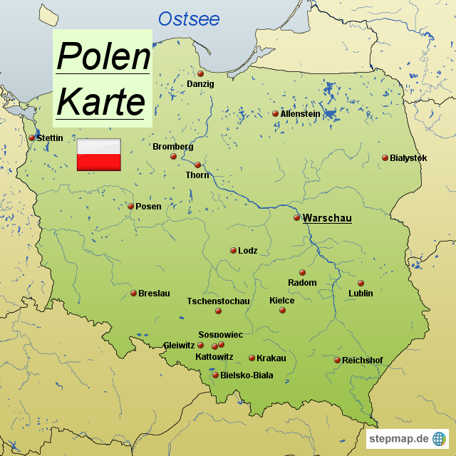 landkarte von polen StepMap   Polen Karte   Landkarte für Polen landkarte von polen