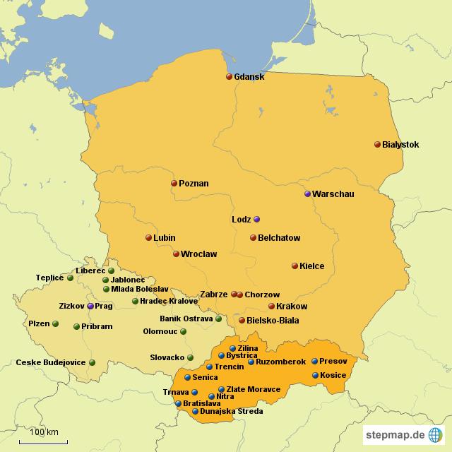 karte dreiländereck deutschland polen tschechien StepMap   Polen, Tschechien, Slowakei   Landkarte für Deutschland