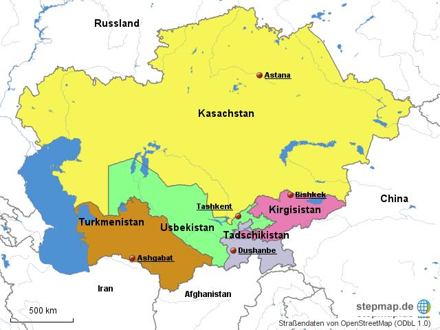 Politische Karte Asien.Stepmap Politische Karte Zentralasien Landkarte Für Asien