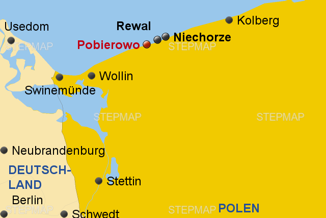 pobierowo karte StepMap   Polnische Ostsee Pobierowo Format 3:2   Landkarte für Polen