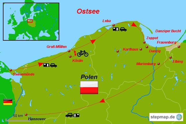 Karte Ostseeküste Polen.Karte Polnische Ostsee Karte