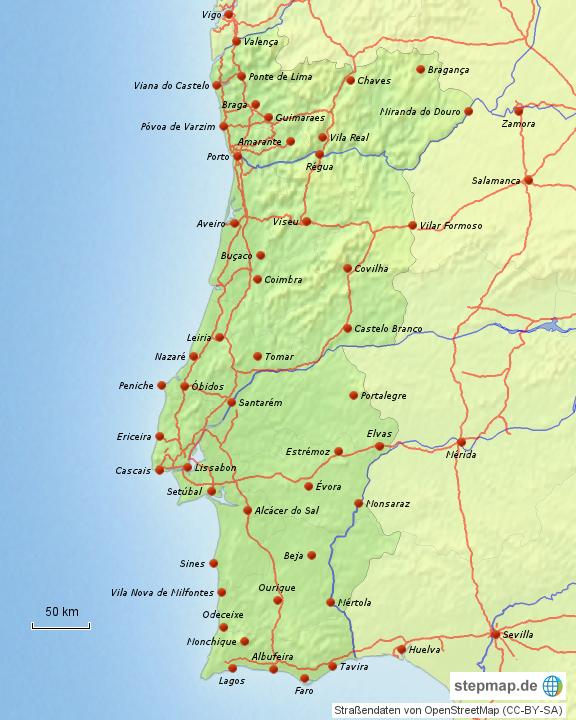 landkarte von portugal StepMap   Portugal (Festland)   Landkarte für Portugal landkarte von portugal