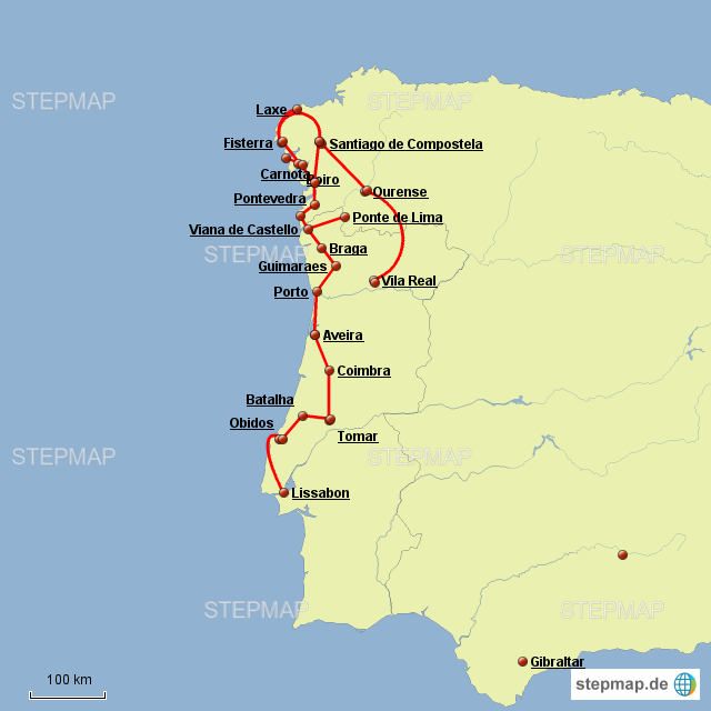 Galizien Karte.Stepmap Portugal Galizien Landkarte Für Deutschland