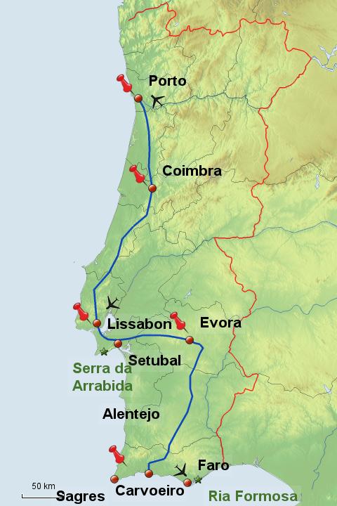 Porto Portugal Karte.Stepmap Portugal Mietwagenrundreise Von Porto Nach Faro