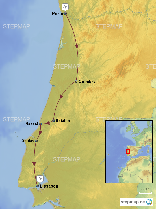 Porto Portugal Karte.Stepmap Portugal Porto Bis Lissabon Landkarte Fur Portugal