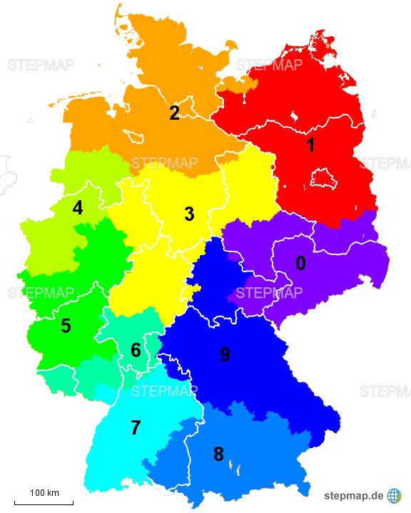 Plz Karte Bayern.Stepmap Postleitzahlen Bereiche Landkarte Für Deutschland