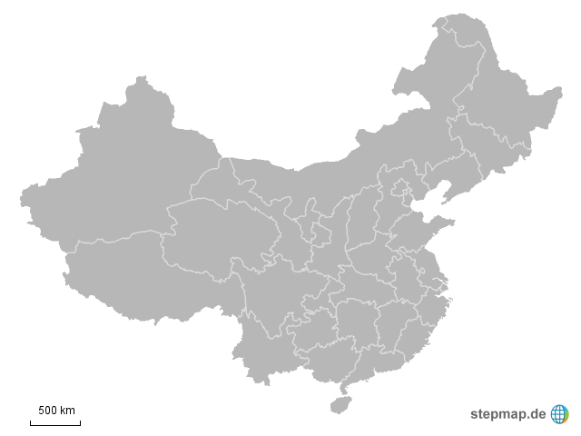 Landkarte Asien Ohne Namen.Stepmap Provinzen Ohne Namen Landkarte Fur China
