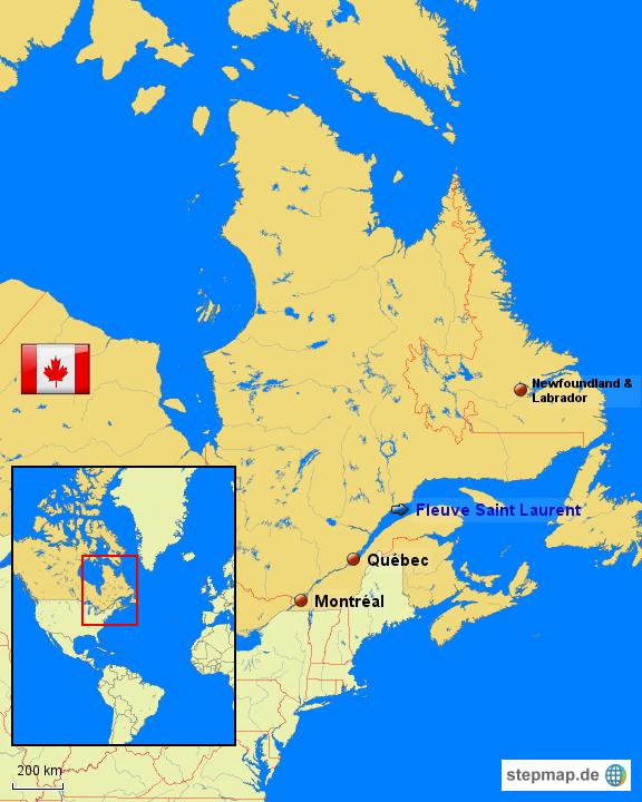 Quebec Karte.Stepmap Québec Landkarte Für Kanada