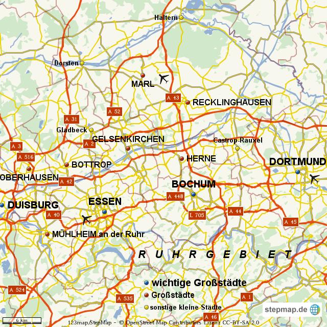 Karte Ruhrgebiet Städte.Stepmap Ruhrgebiet Landkarte Für Welt