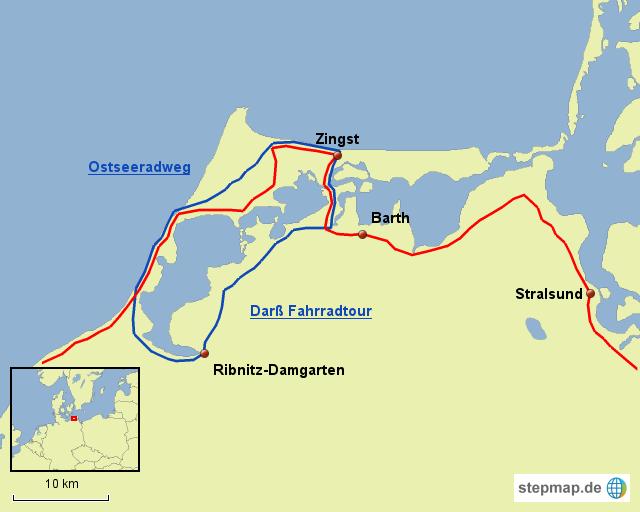 Fischland Darß Zingst Karte.Stepmap Radregion Fischland Darß Zingst Landkarte Für Deutschland