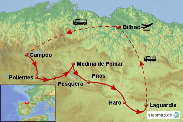 StepMap - Radreise am Ebro entlang nach La Rioja - Landkarte für Spanien