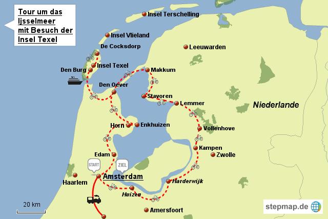 Niederlande Ijsselmeer Karte.Stepmap Radreise Rund Um Das Ijsselmeer Landkarte Für Niederlande