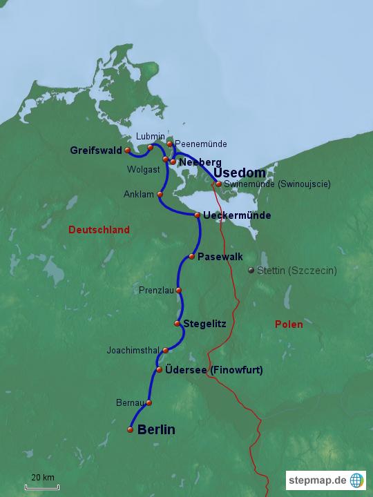 Radweg Berlin Usedom Karte.Stepmap Radtour Berlin Usedom Landkarte Für Deutschland