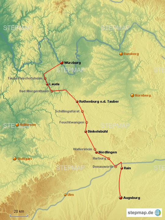 Romantische Straße Karte.Stepmap Radtour Romantische Straße Landkarte Für Deutschland