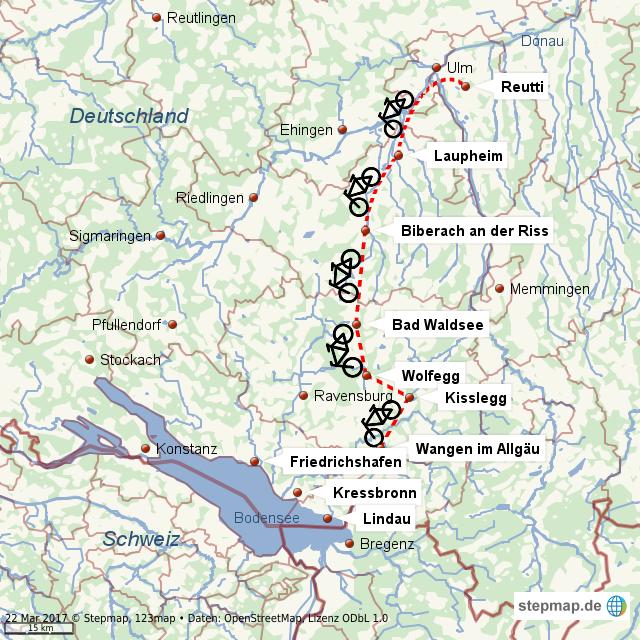 Stepmap Radweg Ulm Bodensee Landkarte Fur Welt