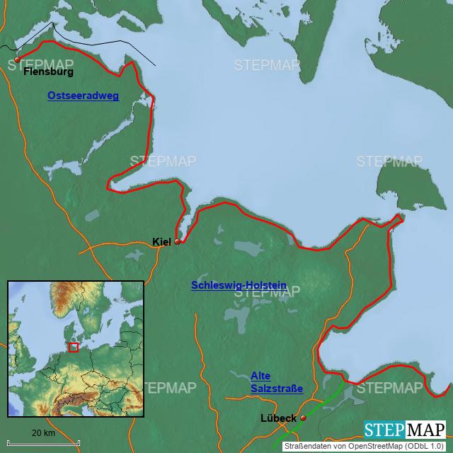 Ostseeradweg Karte.Stepmap Radwege Ostseeküste Schleswig Holstein Landkarte Für