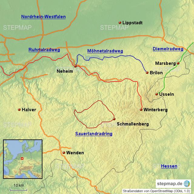 Sauerland Karte.Stepmap Radwege Im Sauerland Landkarte Fur Deutschland