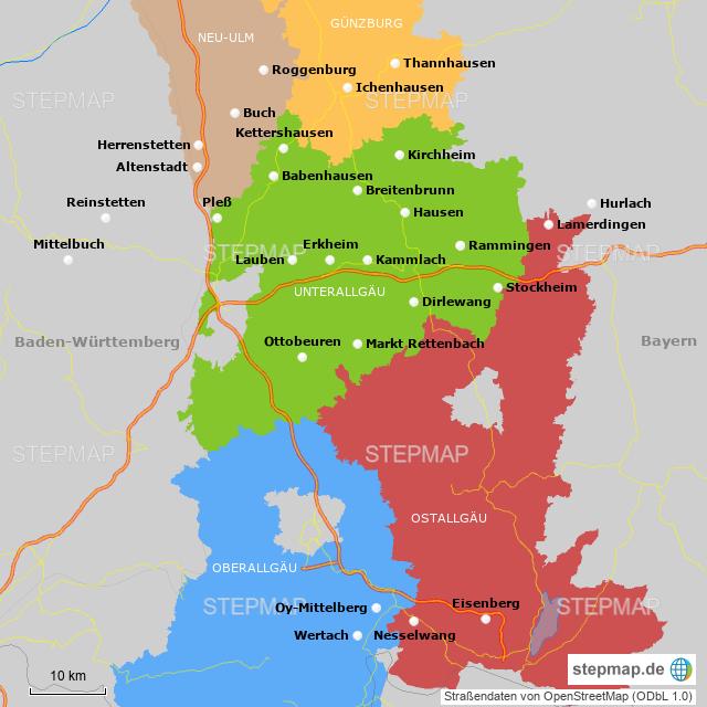 Schwaben Karte.Stepmap Raiffeisen Ware Schwaben Allgäu Landkarte Für Deutschland