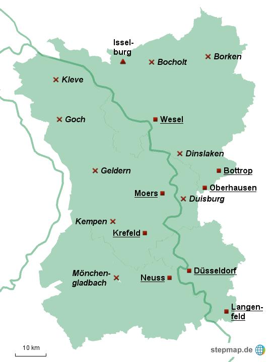 niederrhein karte StepMap   Region Niederrhein PLZ Bereiche 40/41/46/47   Landkarte